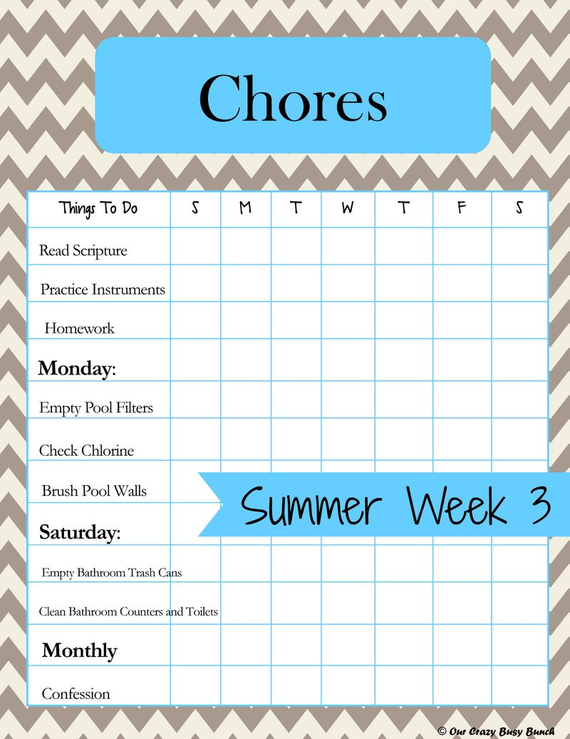 Completed Chore Chart